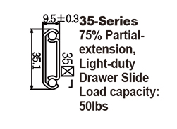 3563 Light-duty Drawer Slide / Steel ball-bearing slide