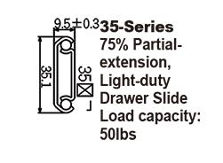 3572B Light-duty Drawer Slide / Steel ball-bearing slide