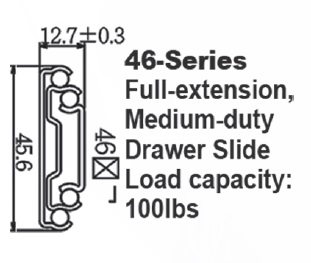 4651 Medium duty fully extended ball bearing drawer slide  with lock-in & out