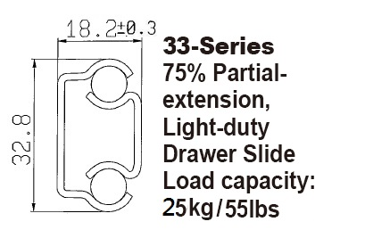 3301 Light-duty Drawer Slide / Steel ball-bearing