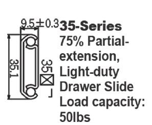 3520 轻型3/4延伸钢珠滑轨