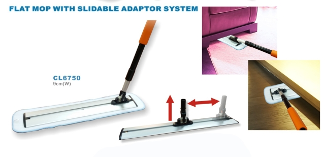 Flat mop with slidable adaptor