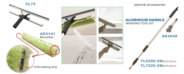Water-thru cleaning sleeve & squeegee