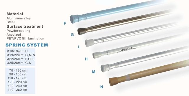 Spring system - shower curtain rod