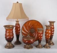 bathroom goods 1. Candle holder 2. Décor dish 3. Jewel box 4. Table lamp 5. Vase