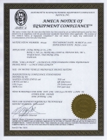AMECA NOTICE OF EQUIPMENT COMPLIANCE