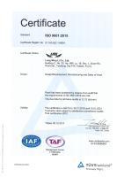 TUV ISO 9001:2008 Certificate