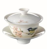 Cens.com 天下泉小盖碗-手绘青背山雀 安达陶瓷艺术有限公司