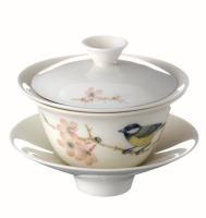 Celestial Spring Covered Bowl (small-size)- Green-backed Tit