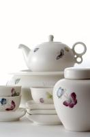 White Suet Glaze Tea Making set