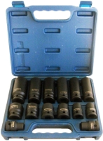 "14PC 1/2"" IMPACT SOCKET SET (Metric, 6PT)CR-MO"