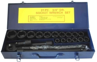 "22 PC 3/4"" DR. SOCKET WRENCH SET CR-V 6POINT (MM)"