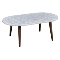 NEGROS K/D CAPIZ SHELLS INLAY OVAL COFFEE TABLES