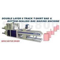 Double Layer 6 Track T-shirt Bag & Botton-sealing Bag Making Machine