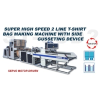 Super High Speed 2 Line T-shirt Bag Making Machine with Side Gusseting Device