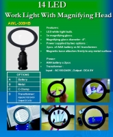 14 LED WORK LIGHT WITH MAGNIFYING HEAD ( LED Dual Power )