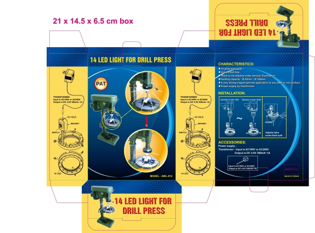 14 LED LIGHT FOR DRILL PRESS(PAT : USA/TAIWAN/CHINA)