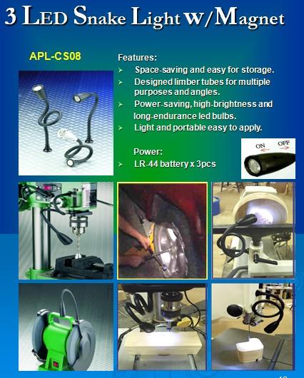3-LED Snake Light w/Magnet