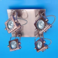 FJQ Vertical Tube Ceiling Mounted Spot Light with Four-angle Lamp Base and Four Lamp Holders