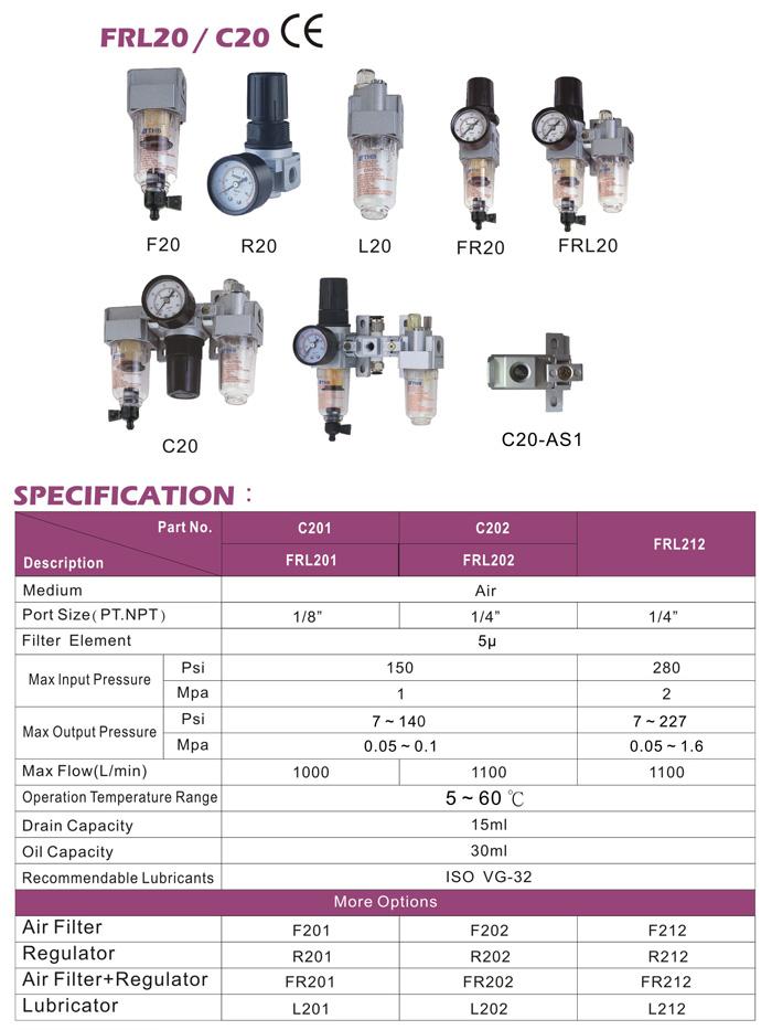 Mini Air Filter/Regulator/Lubrication (Mini FRL Air Control Unit)