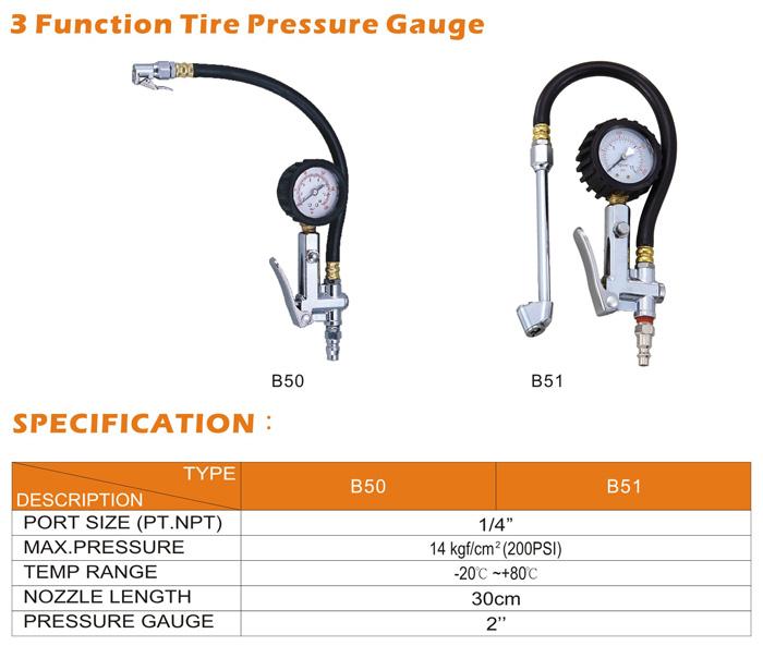 Air Tools-3 Function Tire Pressure Gauge