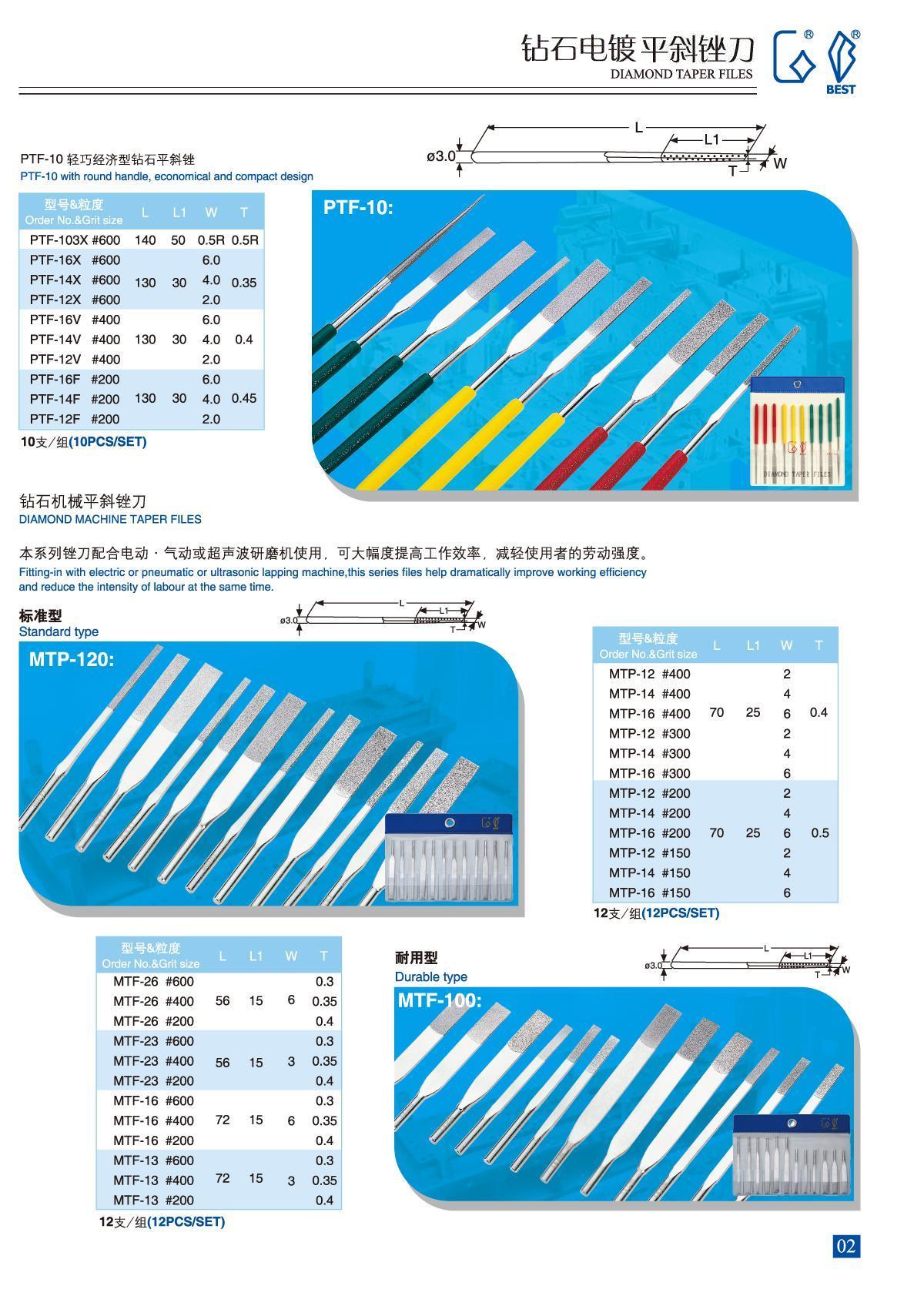 鑽石平斜銼刀-電鍍法  PTF-10