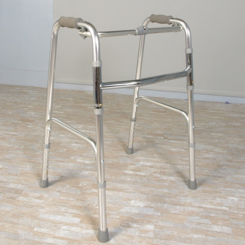 Polished, fixed folding walker