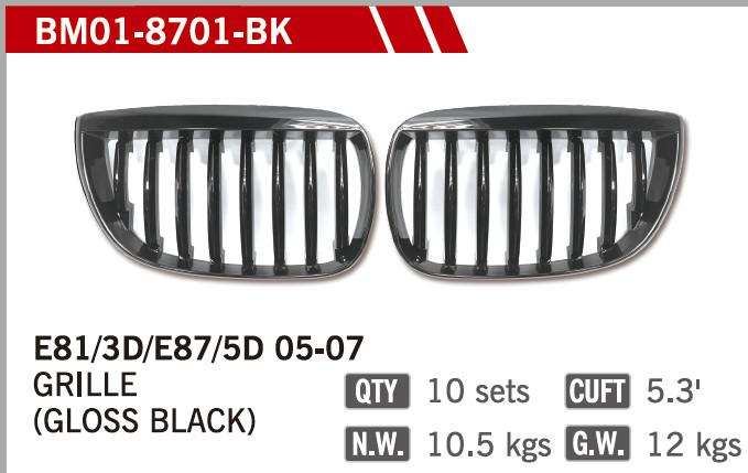 GRILLES GLOSS BLACK FOR BM E87 '01