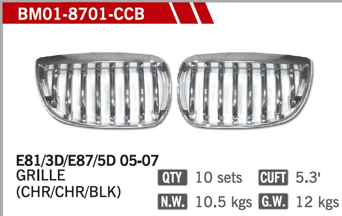 GRILLES CHROME& CHROME& BLACK FOR BM E87 01