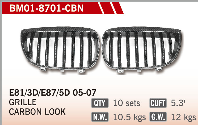 GRILLES CARBON LOOK FOR BM E87 01