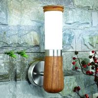 Teak wood+ stainless steel with PC diffuser wall lamp