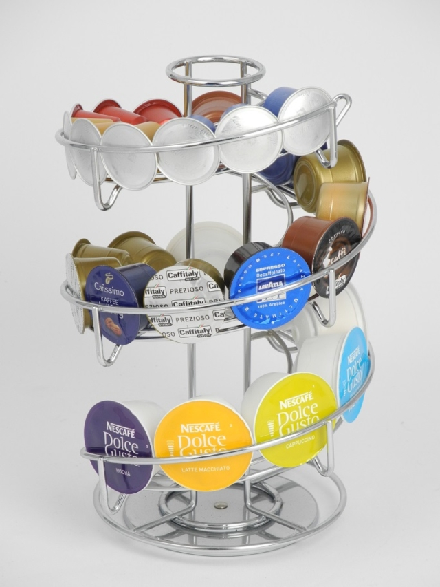 Coffee Capsules Dispenser With Multi-Function & Rotating