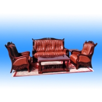 Leather & Wood Sofa
