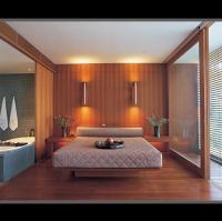 實木材質搭配的複合材料的飯店房間組合傢俱