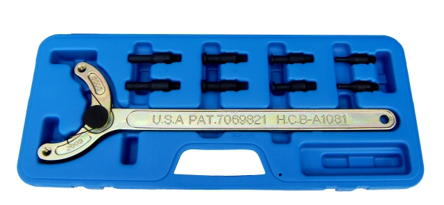 ADJUSTABLE UNIVERSAL CAMSHAFT PULLEY HOLDING TOOL  TW PAT. USA PAT.