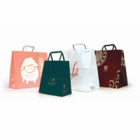 Paper Shopping Bag with Folded Flat Paper Handle