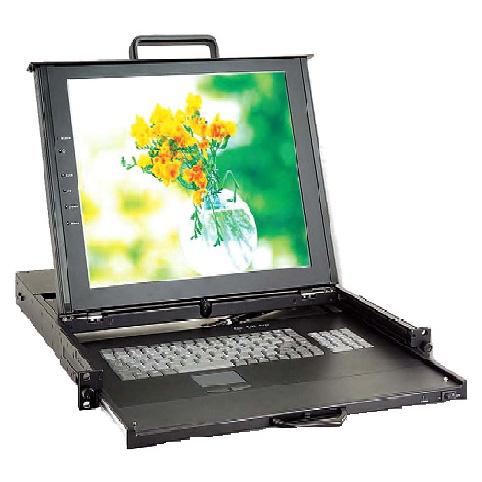 1U雙滑軌 TFT- LCD 模組化KVM多電腦切換器