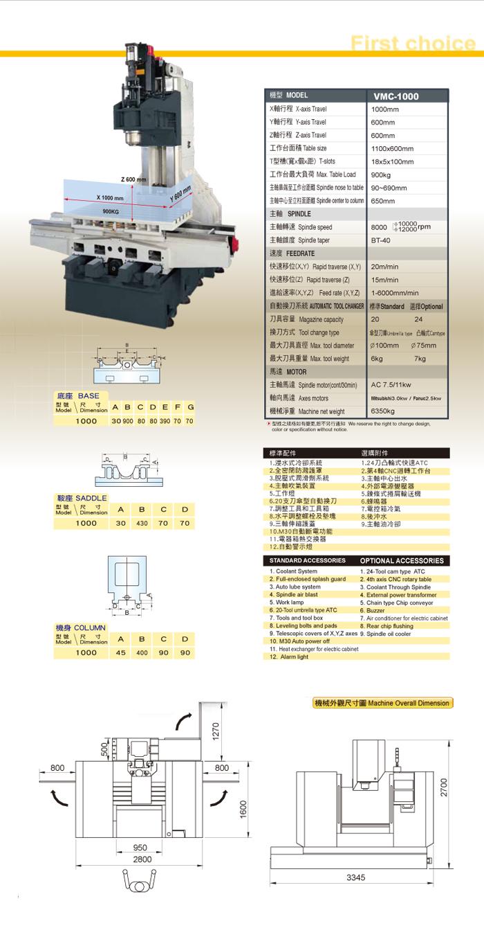 三轴硬轨机构/工作母机 /工具机/立式加工切削中心机