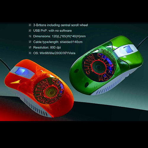 LED Glittering Fan in Computer Mouse