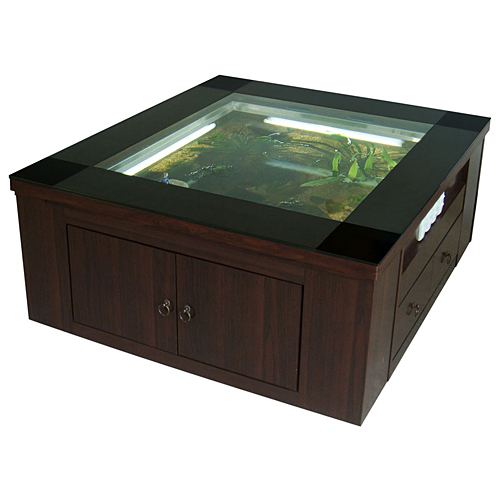 fish tank coffee table. Wooden Aquarium Coffee Table