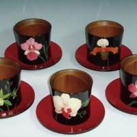 兰花漆器竹杯组
