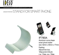 Aluminum curve shape smart phone holder.