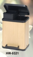 double-compartment step-on trash can