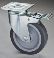 515 Dual-brake TPR Caster with Top Plate & Pedal