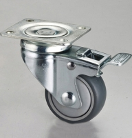 3x1 Dual-brake TPR Caster with Top Plate & Pedal