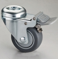 314 Dual-brake Dual-pedal Hollow-king-pin TPR Caster (Gray)