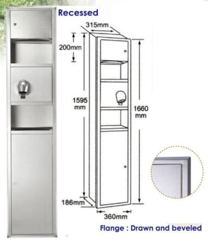 Recessed Combination Dryer Towel Waste Unit