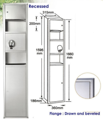 Recessed Combination Dryer Towel Waste Unit