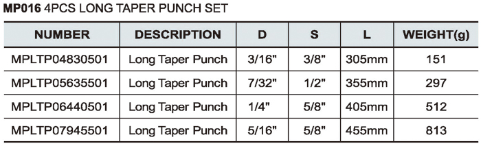 4PCS Long Taper Punch Set