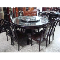 Round Ebony Table & Chair Set
